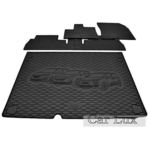 Car Lux DUO01775 - Alfombra Protector Maletero + Alfombrillas de Goma Kit para Peugoet Rifter L1 Desde 2019-