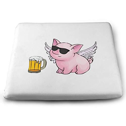Memory Foam Pad zitkussen. Autostoel kussens om hoogte te verhogen - bureaustoel comfortabel kussen - vliegend varken als bier
