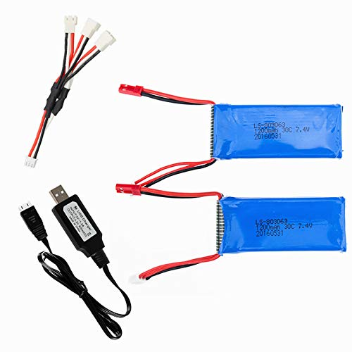 7.4V 1200mah Lipo Battery for YIZHAN Tarantula X6 RC Quadcopter Spare Parts WLtoys V262 Q212 JJRC H40WH H26 MJX X101 RC Drone X6 Battery 2 Pack with USB Charger