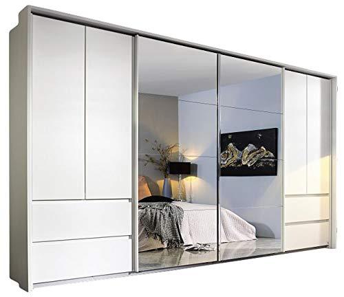 Armadio con ante scorrevoli e girevoli, 8 ante, larghezza 368 cm, per camera dei ragazzi, camera da letto, armadio con specchio, ante scorrevoli