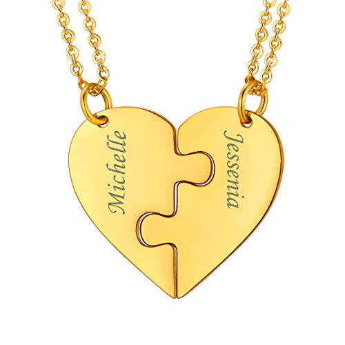 U7 Best Friend Necklace for 2 18K Gold Plated Split Heart Pendant Couple Set Custom Name of 2 BFF Friendship Jewelry with Personalized Engrave Graduation Gift