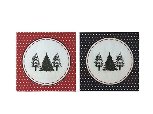 Servietten (2er Set / 40Stück) 3-lagig 33x33cm Frohe Weihnachten Frohes Fest rot/schwarz Weihnachtsbaum