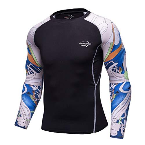 DNOQN Herren Pullover Slim Fit Baumwoll Shirts Mode für Männer Langarm Yoga Fitness Drucken Weich T-Shirt Top Bluse XXL