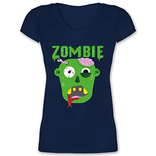 Halloween - Zombie - M - Dunkelblau - T-Shirt - XO1525 - Damen T-Shirt mit V-Ausschnitt