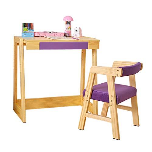 Ensemble table et chaises pour enfants en bois massif table élévatrice table d'ordinateur pour enfants à domicile table à manger (Color : #A)