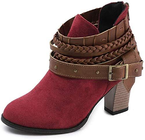 Minetom Damen Stiefeletten Cowboy Western Stiefel Boots Schlupfstiefel Schuhe Rot EU 42