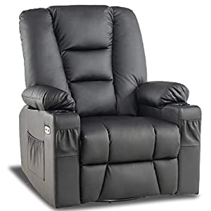 Mcombo Manual Swivel Glider Rocker Recliner Chair with Massage and Heat for Nursery, USB Ports, 2 Side Pockets and Cup Holders, Durable Faux Leather 8036 (Black)
