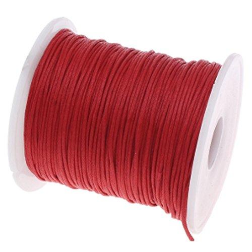 My-Bead algodón cuerda encerada trenzado diámetro Ø 1 mm rollo con 90 m rojo calidad superior DIY