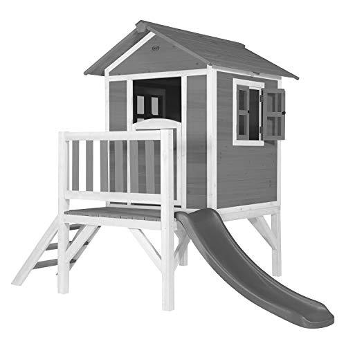 AXI Spielhaus Beach Lodge XL in Grau mit Rutsche in Grau | Stelzenhaus aus FFC Holz für Kinder | Kleiner Spielturm für den Garten