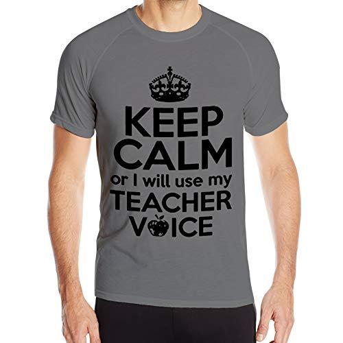 WAUKaaa Camiseta de manga corta con cuello redondo con texto en inglés 'Keep Calm Or I Will Use My Teacher Voice, sin costuras, para hombre, talla Xxl