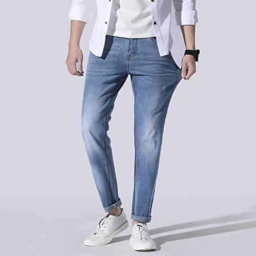 ShFhhwrl Vaqueros de Moda clásica Jeans Hombre Moda Ripped Dark Wash Slim Fit Primavera VeranoPantalones De Mezclilla Plus Siz