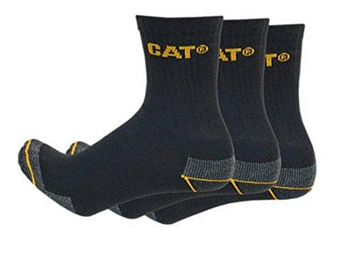 Caterpillar Cat 12 Paar halbkurze Herren Arbeitssocken in Sneakerform/Quarter Socks/in 3 Farben und 2 Größen (41-45, Schwarz)