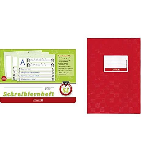 Brunnen 1044040 Schreiblernheft SL (A4, quer, Lineatur SL, 16 Blatt) & 104052424 Hefthülle/Heftumschlag (A4, Folie, mit Namensschild) rot