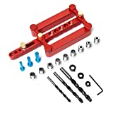 LAPOND Self Centering Doweling Jig Punch Locator Dowel Jig Kit with 3-Hole Drill Bit Drill Guide...