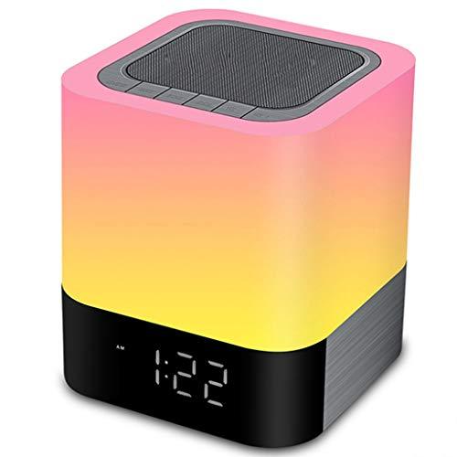 PBTRM Portátiles Altavoz Bluetooth Reloj Despertador Inteligente con Luz Noche Color LED 48 Colores, Regulable, Reproductor Música MP3, Batería 4000 Mah, Tarjeta SD, Decoración La Habitación