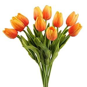 "Silk Flower Arrangements Meide Group USA 19"" Large Single Stem Real Touch Latex Artificial Tulip Flowers for Spring Arrangements, Bouquets, and centerpieces (6 PCS)"
