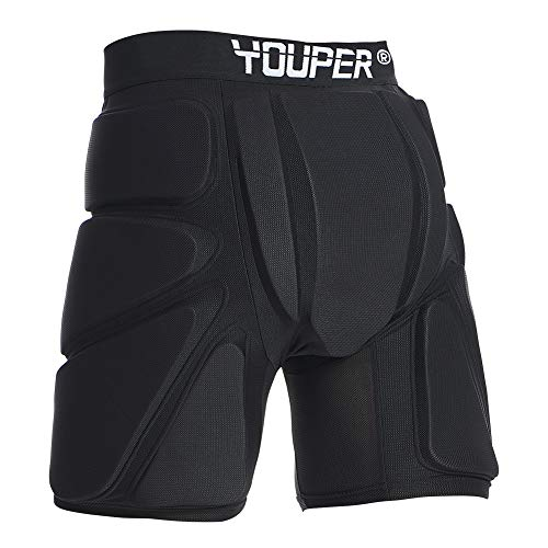 Youper Protective Padded Shorts for Ski, Snowboard, Skate & Roller Sports, 3D Protection for Butt, Hip & Tailbone (Black, Small)