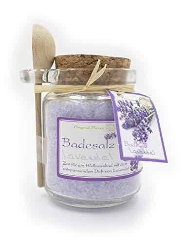 Badesalz Lavendel, 300g im Glas, von Florex, mit Löffel