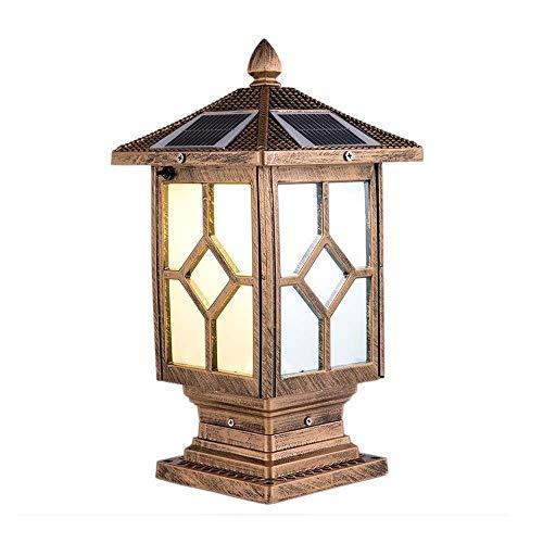 KMYX Plaats, solarzuil van messing, antiek, kleur zuil, lamp, voor villa, deur, terras, buiten, retro, decoratie, lampen IP55, waterdicht, lamp, zuil