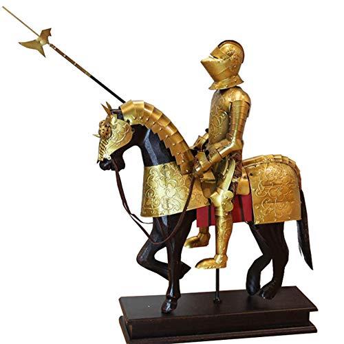 Caballero Estatua Decorativa, Armadura Medieval Modelo Modelo Metal Antigua Artesanía Oro Soldado Adornos Restaurante Bar Ventana Colección Arte