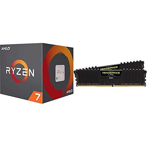 Amd Ryzen 7 3800x 8 Core 16 Thread Unlocked Desktop Processor With Wraith Prism Led Cooler Bundle With Corsair Vengeance Lpx 16gb 2x8gb Ddr4 Dram 3200mhz C16 Desktop Memory Kit Black B08bpkd4gn