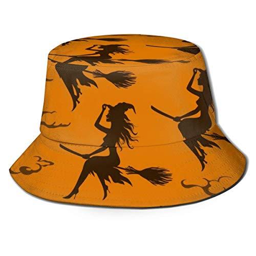 Sombrero de Cubo Unisex Sombrero de Cubo de ala Ancha Gorra de Pescador de Verano Moda Plegable Sombrero de Sol Brujas Patrones de Palo de conducción