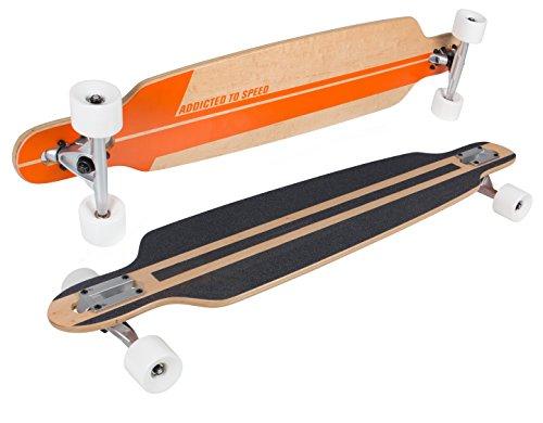 SportPlus Longboard, ABEC-7 Chrom-Kugellager, PUC Rollen für ideale Bodenhaftung, Komplettboards, hochwertige Decks aus stabilen & flexiblen Ahornholz (Canadian Maple), diverse Formen und Designs