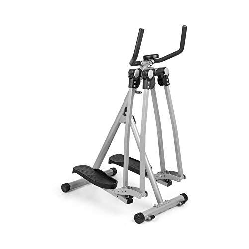 CapitalSports Crosswalker Air-Walker - Bicicleta elíptica, Movimiento Vertical y Horizontal, hasta 100 kg, Ordenador de Entrenamiento, Pantalla LCD, Pasamanos, Antideslizante, Marco metálico, Gris