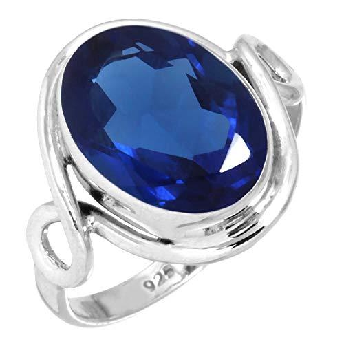 Jeweloporium Azul Zafiro Simulación Mujer Joyería 925 Esterlina Plata Anillo tamaño 23 (99113_BSH_R137)