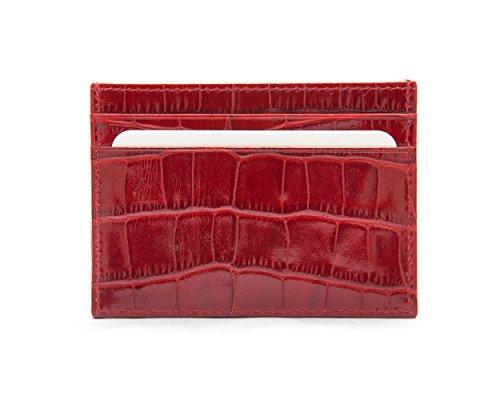 SageBrown Red Croc Flat Credit Card Wallet