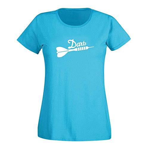 T-Shirt Darts Pfeil Dartboard Sport Zielscheibe darten 15 Farben Damen XS - 3XL Steeldarts Bullseye Hobby Verein Dartsclub Kneipe Geschenk-Idee, Größe:3XL, Farbe:Azure/türkis - Logo Weiss
