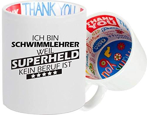 Shirtstown Tasse, Ich Bin Schwimmlehrer, Weil Superheld kein Beruf ist, Kaffeetasse Dankeschön Thank You, Teetasse, Tasse, Spruch Sprüche Logo Arbeit Ausbildung Abschluss
