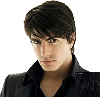 Men's short black fashion straight hair wig
