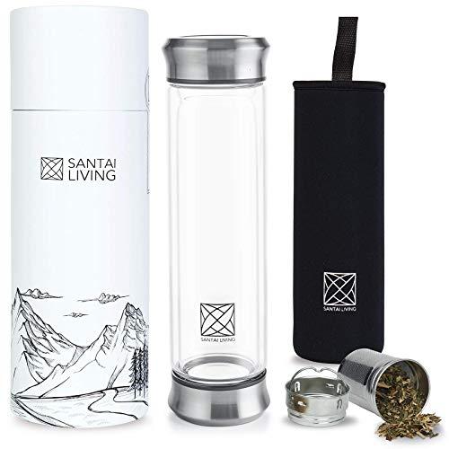 Santai Living Glas Teeflasche 400ML | Doppelwandige Flasche mit Filter Reise-Becher | BPA Freie Trinkflasche Tee Infuser mit Edelstahlsieb Für Lose Blätter und Früchte