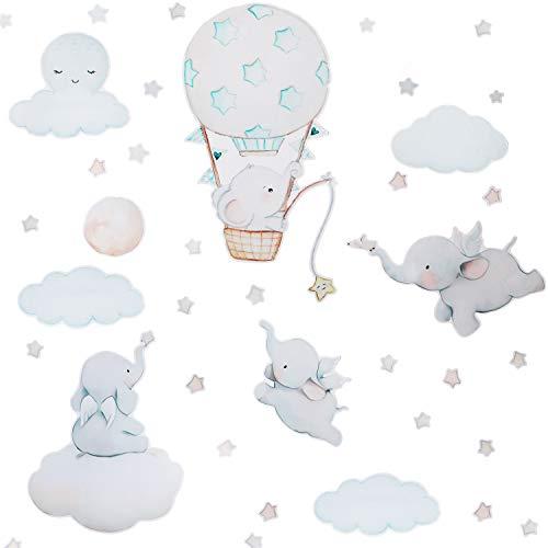 2 Hojas Pegatinas de Pared de Elefante Volador Calcomanía de Pared Retirable de Globo Aerostático Nube Luna Estrella Fondo Animal Decoración de Arte de Pared de Dormitorio Infantil para Fiesta