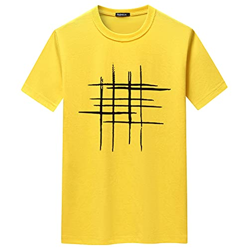 Camiseta Hombre Verano Básica Versión Regular Cuello Redondo Hombre Shirt Moderna Urbana Tendencia Moda Creativo Estampado Casuales Camisa Diario Casual All-Match Manga Corta V-014 4XL