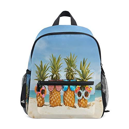 QMIN - Zaino estivo per bambini, con ananas e frutta, ideale per bambini e ragazzi