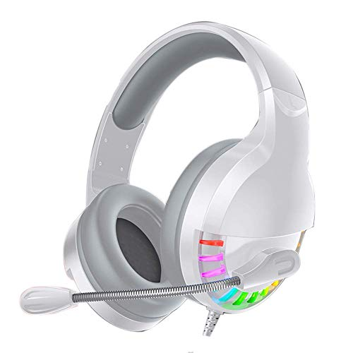 Gaming-Headset, Stereo-Surround-Sound-Rauschunterdrückung, Mikrofon, Inline-Steuerung, Over-Ear-Gaming-Kopfhörer, LED-Licht, kompatibel mit PC/PS4 (Farbe: Weiß)