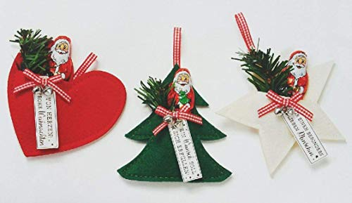 Anhänger Filz Schuh, Herz, Stern oder Tannenbaum mit Tanne und Mini Weihnachtsmann Schokolade 7,5 g - 1 Anhänger a.d. Sortiment, ca. 10-12 cm