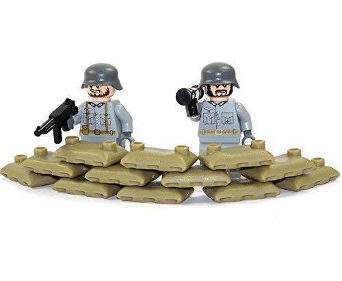 Unbekannt Custom WW2 Stellung 2 Figuren Soldat Grau Hochwertig Bedruckt aus Lego® Teilen