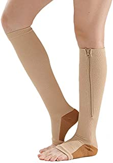 Huante, Medias de compresión de nailon con cremallera de compresión para la pierna, soporte para la rodilla, puntera abierta, evita las venas varicosas, calcetines elásticos (gris, rosa, L/XL)