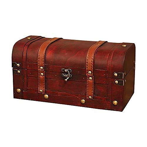 Caja de almacenamiento de madera vintage con candado, organizador de joyas, decoración del hogar