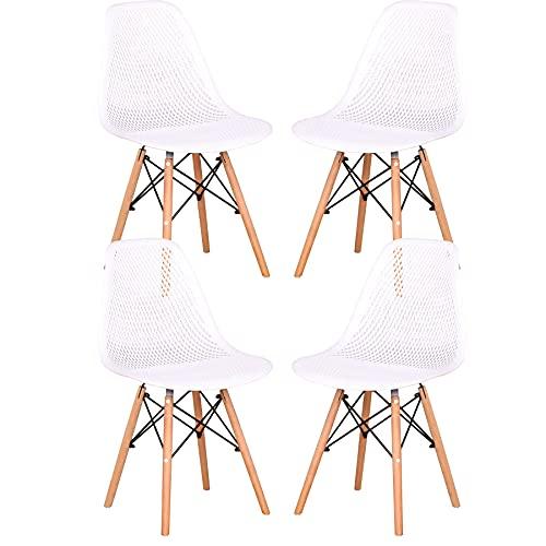 GrandCA HOME Juego de 4 sillas Clásicas Sillas,Sillas de Comedor para Comedor, Café, Restaurante,Oficina (White)
