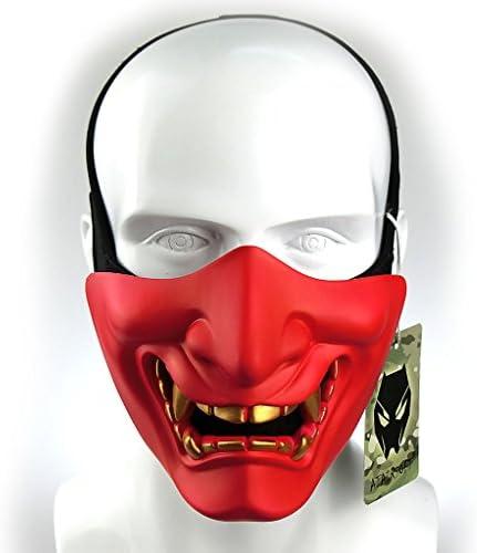 Aoutacc fiestas Halloween M/áscaras de media cara para airsoft dise/ño de monstruo de demonio kabuki samurai Hannya Oni media cara para baile de m/áscaras juego de guerra Cs