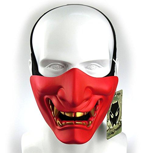 WorldShopping4U Taktische schützende Paintball Airsoft Kunststoff Cosplay Kabuki Samurai Dämon Halbe Gesichtsmaske Rot
