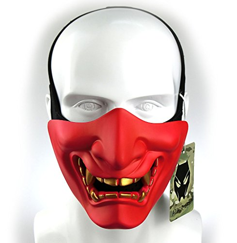 ATAIRSOFT Halloween Costume Cosplay BB Gun Evil Demon Monster Kabuki Samurai Hannya Oni Half Cover Airsoft and Prop Mask (Red)