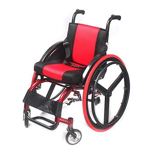 Leichter Rollstuhl Vierrädriger Roller-Fahrrad-Ultraleichter Sport-Konkurrenzfähiger Rollstuhl Wheelchairs Sportlicher zum Behinderter, Gewicht Kapazität 100KG