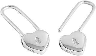 Heart Safety Pin Sterling Silver Small Hoop Earrings for Women Girls Minimalist Huggie Hoops Cute Love Lock Cartilage Drop...