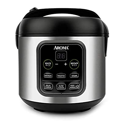 Aroma Housewares ARC-994SB 2O2O model Rice & Grain Cooker Slow Cook, Steam, Oatmeal, Risotto, 8-cup cooked/4-cup uncooked/2Qt, Stainless Steel
