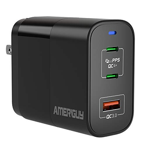 """USB C Charger, AMERIGUY 65W 3-Port Wall Charger with GaNFast Technology, PD Charger USB C Fast Charger USB C Laptop Charger for MacBook Pro 16"""", iPhone 11 Pro"""